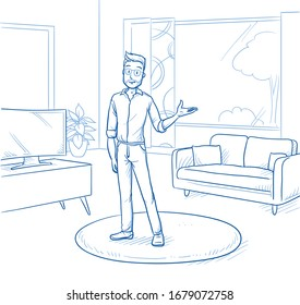 Happy young man standing in modern living room and presenting new home. Hand drawn blue line art cartoon vector illustration.