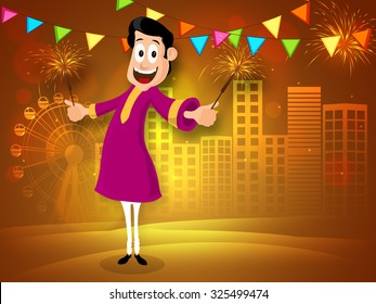 Happy young man in traditional dress enjoying with firecrackers on shiny urban city background for Indian Festival of Lights, Happy Diwali celebration.