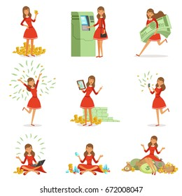 Happy young millionaire woman in a red dress enjoying her money and wealth, set of colorful detailed vector Illustrations