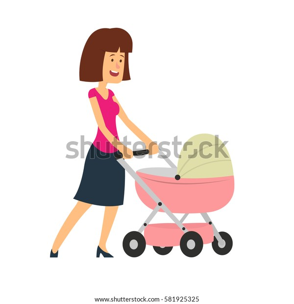 Happy young mother with the baby in the pram. Vector illustration in a flat style