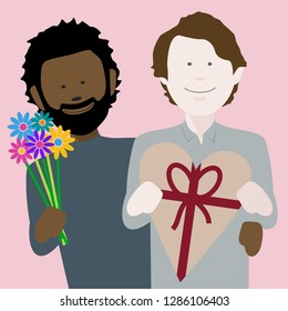 happy young multiethnic gay couple in love exchanging gifts on saint valentines day