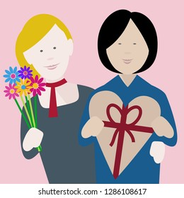 happy young multiethnic lesbian couple in love exchanging gifts on saint valentine's day