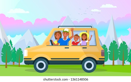 Happy Young Parents with Daugter and Son Traveling by Car at Beautiful Mountains Highland Landscape, Trees and Sunrise Cloudy Sky and Birds Background. Family Vacation Cartoon Flat Vector Illustration