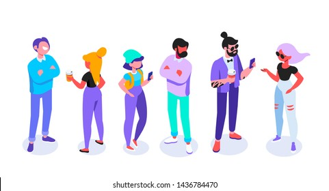 Fröhliche junge Menschen in Gelegenheitskleidung isometrischen Satz. Moderne Stadtbewohner. Freunde, Studenten. Kommunikation. Die Leute reden.  Flacher Cartoon-Stil. Vektorisometrische Zeichen einzeln auf Weiß.