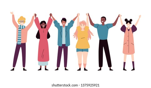 Happy young people standing together and holding hands