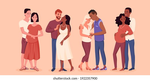Happy young pregnant couple vector illustration. Cartoon man character touching belly of pregnant wife with love, pretty future mother and father standing together, pregnancy motherhood background