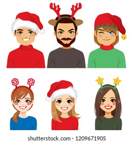 Happy young smiling people avatar wearing different Christmas headbands