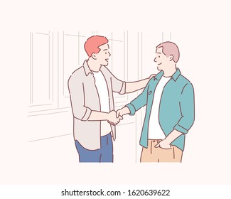Happy young student giving a handshake to his classmate. Hand drawn style vector design illustrations.