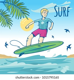 Happy young surfer guy on the crest wave, flat illustration