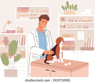 Happy young veterinarian examining dog with stethoscope in modern vet clinic. Health check or medical examination of animal in veterinary hospital. Colored flat vector illustration