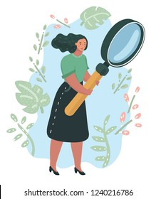 Happy young woman is analysing with big magnifier. Lady holding in her hands giant magnifying glass or loupe and looking far ahead. Vector cartoon illustration in modern concept