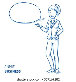 Happy young woman in business clothes talking and explaining something with speech bubble. Hand drawn line art cartoon vector illustration.