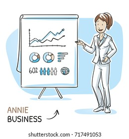 Happy young woman in business clothes holding hand as if explaining or presenting something (e.g product). Hand drawn cartoon sketch vector illustration, whiteboard marker style coloring.