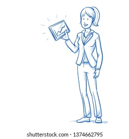 Happy young woman in business suit with tablet and charts in her hand. Hand drawn line art cartoon vector illustration.
