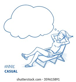 Happy young woman in casual clothes relaxing in a deck chair with thought bubble. Hand drawn line art cartoon vector illustration.