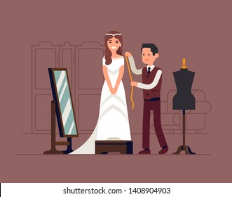 Happy young woman fitting and altering her white wedding dress with tailor. Wedding day preparations themed illustration with bride wearing wedding dress in atelier