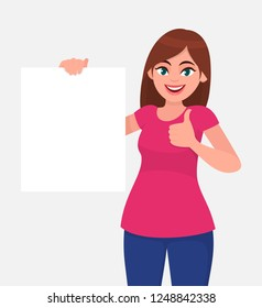 Happy young woman holding a blank / empty sheet of white paper or board and gesturing thumbs up sign. Human emotion & body language concept illustration in vector cartoon flat style.