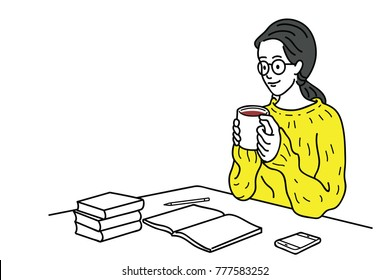 Happy young woman, knitted shirt in winter fashion, spend relaxing time with hot coffee during writing on her desk. Education concept. Outline, linear, thin line art, hand drawn sketch, doodle.