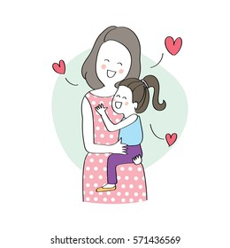 Happy young woman, mother hugging her daughter, love between mom and child, Vector illustration hand drawn cartoon doodles.