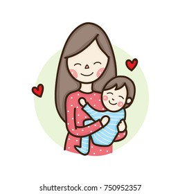 Mom Hugging Baby Cartoon Images Stock Photos Vectors Shutterstock