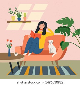 Happy young woman is relaxing on comfortable chair and reading book and cat. Vector flat illustration