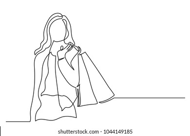 Happy young woman with shopping. One line drawing isolated vector object by hand on a white background