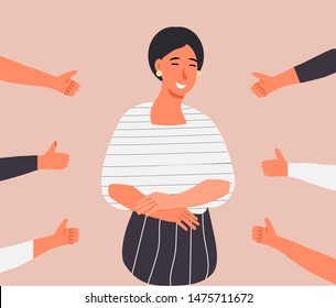 Happy young woman is standing and she is surrounded by hands with thumbs up. Scene of public approval and appreciation of friends, coworkers.  Cartoon concept vector of acknowledgment and recognition.