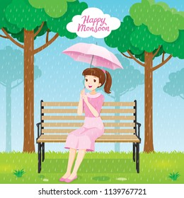 Happy Young Woman Under Umbrella Sitting On Bench In Park, Rainy Day, Season, Raindrop, Natural