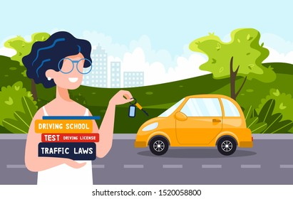 Happy young woman who holds driving books shows new car keys. She has a permission to drive. Driving school concept, driver's license, traffic rules, test. Vector flat illustration.