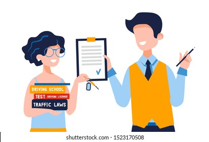 Happy young woman who holds driving books shows new car keys. A satisfied instructor gives permission to drive. Driving school concept, driver's license, traffic rules, test. Vector flat illustration.