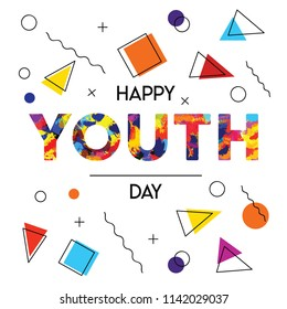 Happy Youth Day greeting card illustration of abstract retro 90s style background decoration with special celebration text quote. EPS10 vector.