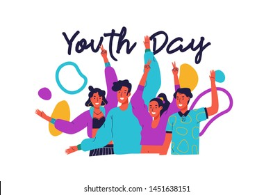 Happy youth day greeting card illustration of fun teen friend group. Social young people together taking action with colorful decoration and retro 90s fashion.