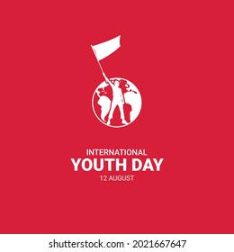 Happy youth day greeting card illustration of red Globe and Man young Man Standing. Luxury Youth day Vector design.