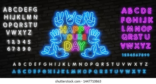 Happy Youth Day neon greeting card. Colorful young people group concept. EPS10 vector. Realistic neon sign for Youth Day
