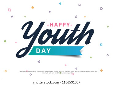 Happy Youth Day Poster or Banner Campaign with Geometrical Background