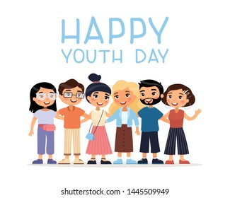 Happy Youth Day. Six international young  girls and boys friends hugging. Funny cartoon character. Vector illustration. Isolated on white background.