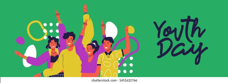 Happy youth day web banner illustration of fun teen friend group. Social young people together at party time with colorful decoration and retro 90s fashion.