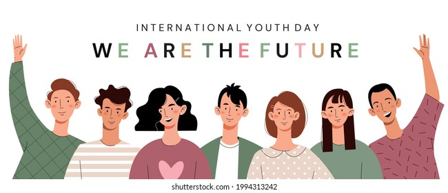 Happy youth day.Friendly team, cooperation, friendship.Card for International Youth Day Celebration.