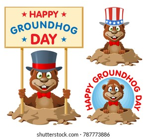 Hapy Groundhog day. Funny cartoon groundhog in the top hat congratulates you. Cartoon styled vector illustration. Elements is grouped. No transparent objects.