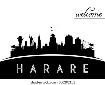 Harare Zimbabwe skyline silhouette, black and white design, vector illustration