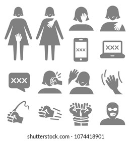 Harassment and abuse icon set. Included the icons as victim, sexual harassment, mobile, website, assault, violent, bitter, inappropriate, women and more.