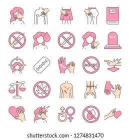 Harassment and abuse icons pack. Isolated harassment and abuse symbols collection. Graphic icons element