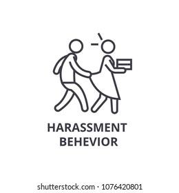 harassment behevior thin line icon, sign, symbol, illustation, linear concept, vector