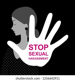 Harassment. Stop sexual harassment. Women's rights. Sexual abuse prevention poster. Violence concept. Social issues, abuse, aggression, harassment