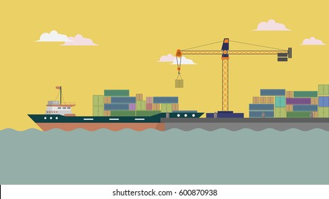 Harbor Ship Background Design