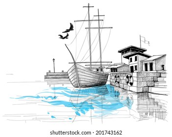 Harbor sketch, boat on shore vector illustration