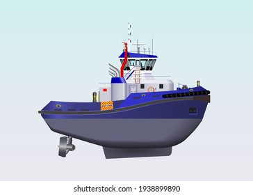 Harbour tug boat with azimuth in blue and transparent window glasses-wheelhouse ship vector design.