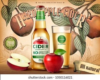 Hard apple cider ads, refreshing beverage with realistic apples and containers in 3d illustration, retro engraving style background