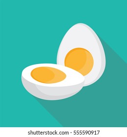 Hard Boiled Sliced Broken egg flat style with long shadow isolated on green background. breakfast elements vector sign symbol