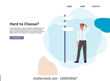 Hard to choose? Businessman standing next to crossroad signpost with three boards thinking about business decision and career path - flat cartoon landing page banner, vector illustration